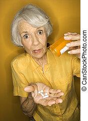 kvinna, medication.