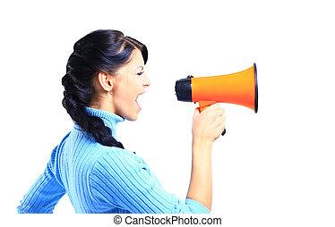 kvinna, megafon, genom, ung, talande