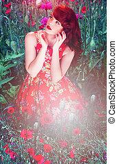 kvinna, mellan, artistisk, vallmoer, stående, röd