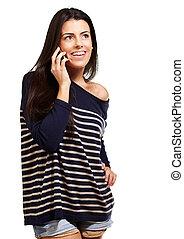kvinna, mobil, över, ung, talande, bakgrund, vit