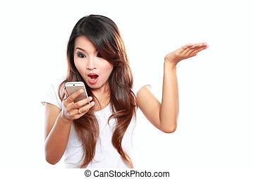 kvinna, mobilephone, text, ung, ansikte, meddelande, läsning, uttryck
