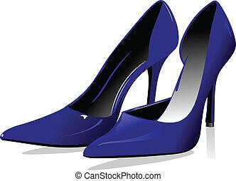 kvinna, mode, blå, vektor, shoes.