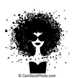 kvinna, mode, din, stående, design
