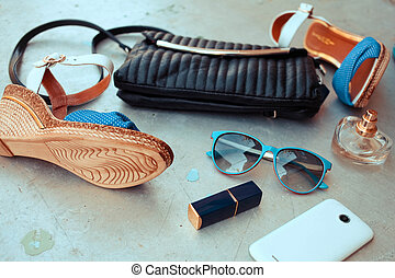 kvinna, mode, essentials, objekt
