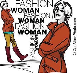 kvinna, mode, illustration