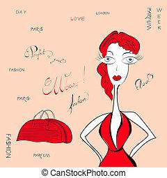 kvinna, mode