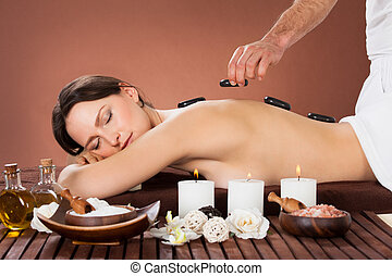 kvinna, mottagande, hoat stena therapyen, in, kurort