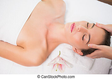 kvinna, mottagande, huvud massera