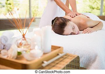kvinna, mottagande, massera, baksida