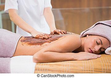 kvinna, mottagande, massera, choklad