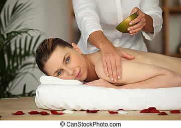 kvinna, mottagande, massera