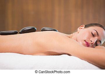 kvinna, mottagande, sten, massera