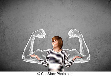 kvinna, muscled, ung, stark, vapen