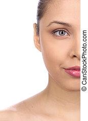 kvinna, närbild, sensuell, flicka, frisk, isolerat, stående, halvt, slät, face., ansiktsbehandling, hälsosam, vacker, främre del, vit