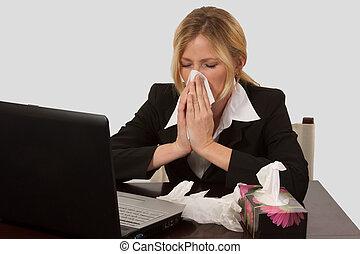 kvinna, näsa, blåsning