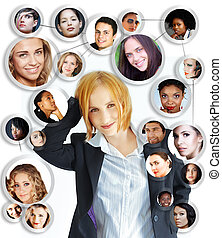 kvinna, nätverksarbetande, ung, social