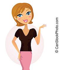 kvinna, något, affär, /, lycklig, presentation, visande, ...