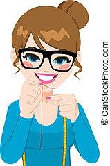kvinna, nål, tråd
