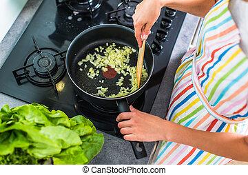 kvinna, nymodig, ung, matlagning, kök, henne
