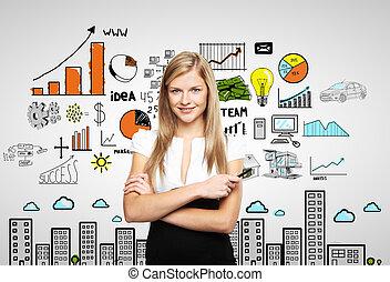kvinna, och, affärsverksamhet strategi