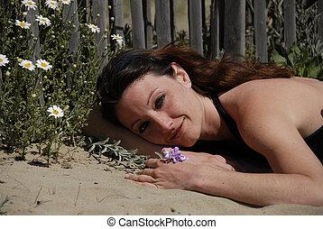 kvinna, och, blomningen