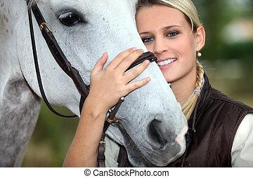 kvinna, och, häst
