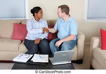 kvinna och herre, dator