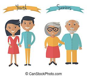 kvinna och herre, par, generations., familj, par, hos, olik, ages., youth, och, seniors, folk, isolerat, på, white., vektor, illustration, in, lägenhet, stil