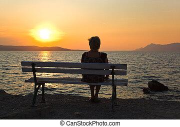kvinna, och, solnedgång