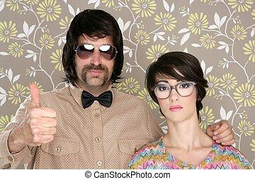 kvinna, ok, par, hand, dum, retro, underteckna, nerd, man