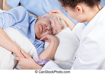 kvinna, omsorgen, om, äldre, dam