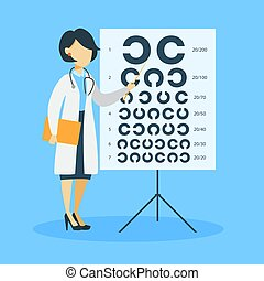 kvinna, optometrist., isolerat