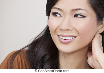 kvinna, orientalisk, le, kinesisk, asiat, vacker