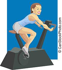 kvinna, på, övning cykel