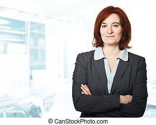 kvinna, på arbete