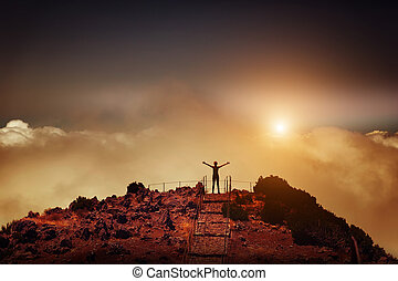 kvinna, på, den, bergstopp