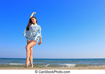 kvinna, på, den, strand.