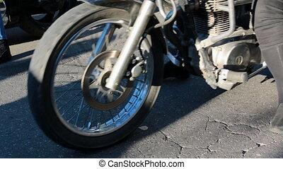 kvinna, på, motorcykel