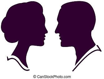 kvinna, par, ansikte, profil, vektor, kvinnlig, manlig, man