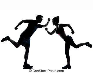 kvinna, par, exercerande, en,  fitness, genomkörare,  man