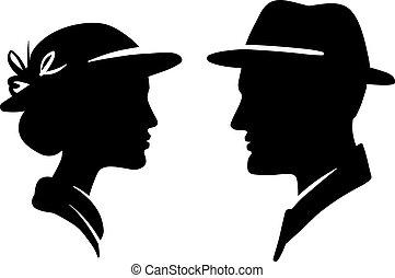 kvinna, par, manlig, kvinnlig, bemanna, vett, profil