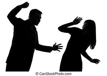 kvinna, par, våldsamhet, inrikes, en man