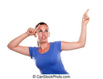 kvinna pekande, ung, uppe, se, nätt