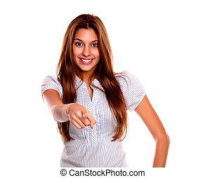 kvinna pekande, ungt se, le, dig