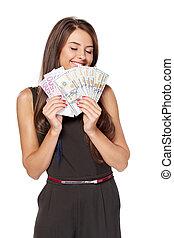 kvinna, pengar, dollar, kontanter, oss, holdingen, euro