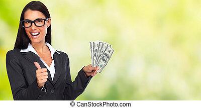 kvinna, pengar., lycklig