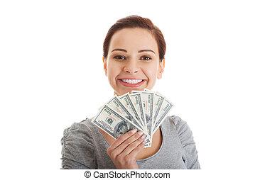 kvinna, pengar., tillfällig, beatiful, holdingen
