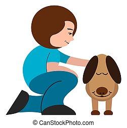 kvinna, petting, hund