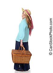 kvinna, picknick korg