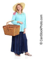 kvinna, picknicken, land, korg